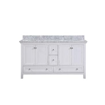 "Aurafina Cunningham 60"" Vanity with Top and 2 Sinks in Plantation White, , large"