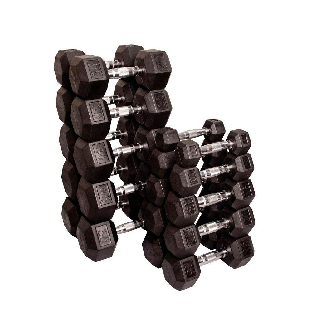 Body Solid 5-50lb Hex Dumbbell Set and Rack Bundle, , large