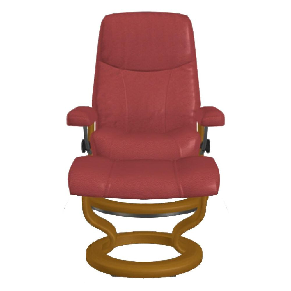 Ekornes Consul Large Leather Chair and Ottoman in Batick Bordeaux, , large