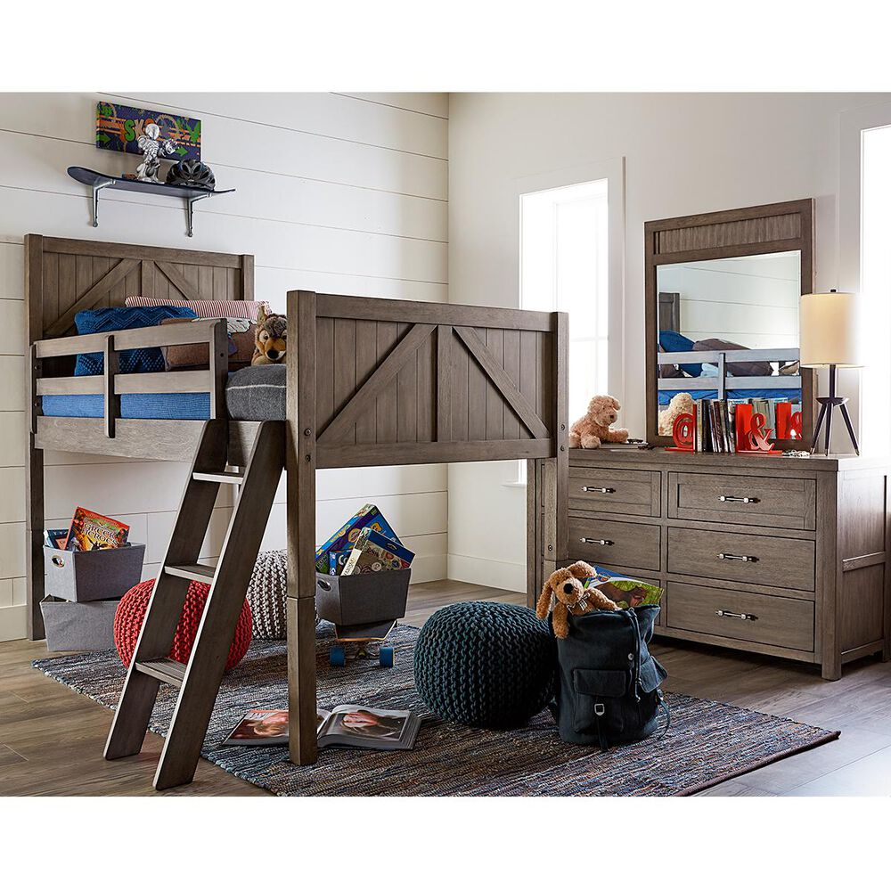 Legacy Classic Bunkhouse Twin Mid Loft Bed in Aged Barnwood, , large