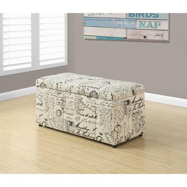 "Monarch Specialties 38"" Storage Ottoman in Off White and Black, , large"