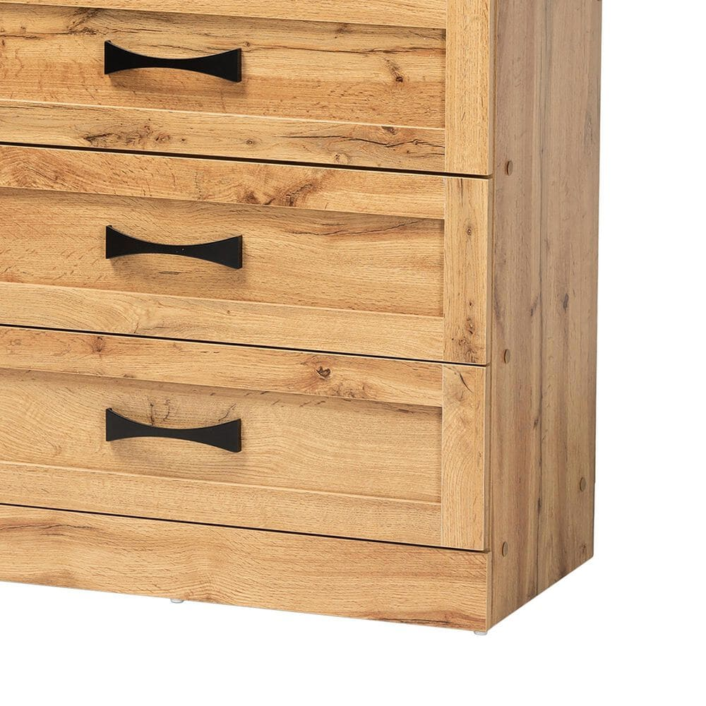 Baxton Studio Colburn 5 Drawer Storage Chest in Oak Brown, , large