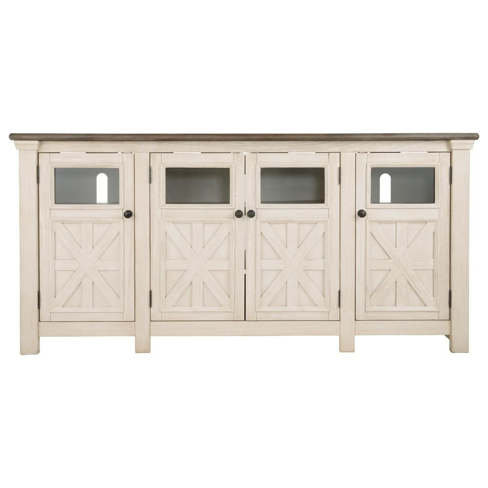 """Signature Design by Ashley Bolanburg Extra Large 74"""" TV Stand in Antique White and Weathered Oak Top, , large"""