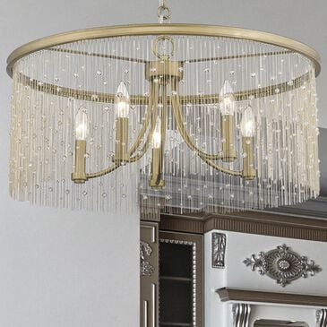 Golden Lighting Marilyn CRY 5-Light Chandelier in Peruvian Gold with Crystal Strands, , large
