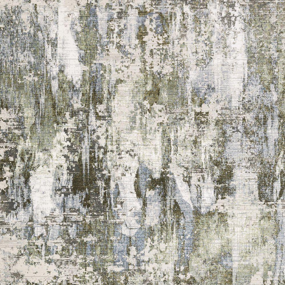 """Oriental Weavers Caravan Grey Mystery 2'3"""" x 7'6"""" Green and Blue Runner, , large"""