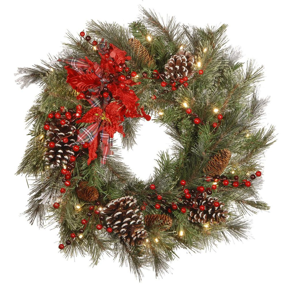"""National Tree 24"""" Decorative Collection Tartan Plaid Wreath with Warm White LED Lights, , large"""