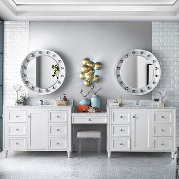 """James Martin Copper Cove Encore 122"""" Double Vanity in Bright White with 3 cm Carrara White Marble Top, , large"""