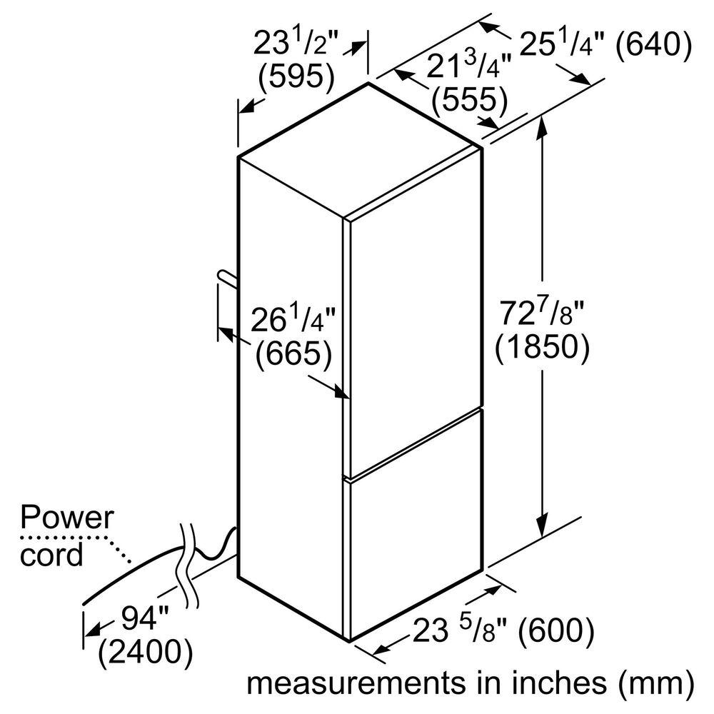 "Bosch 800 Series 23.5"" Counter Depth Freestanding Fridge with Bottom Freezer in White , , large"