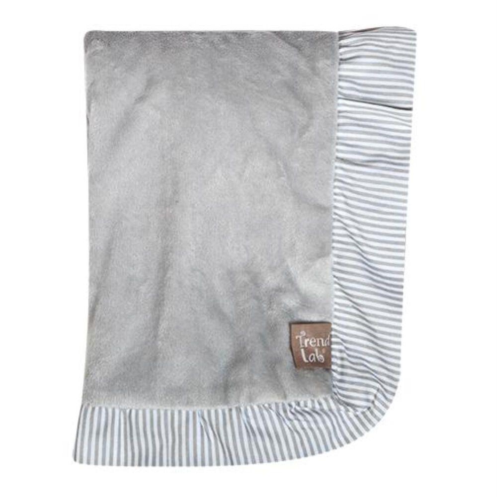 Trend Lab LLC Dove Gray Ruffled Velour Baby Blanket, , large