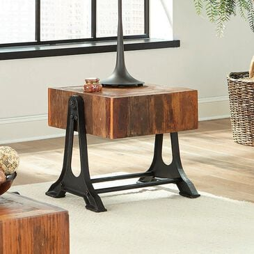 Pacific Landing Scott Living Workshop End Table in Recycled Wood , , large