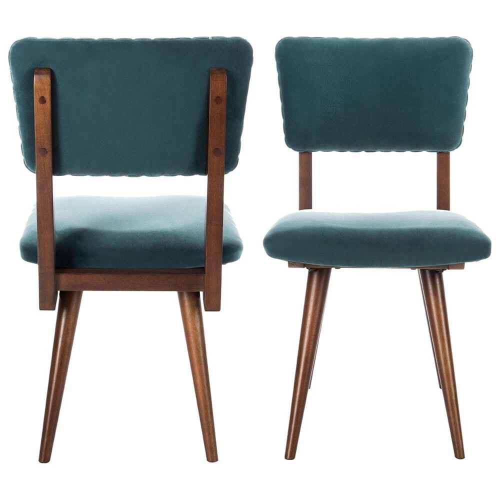 Safavieh Aurora Side Chair in Dark Teal and Dark Walnut (Set of 2), , large