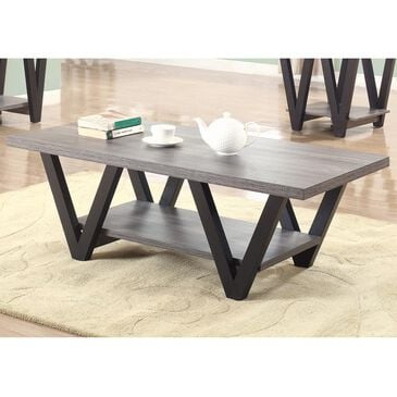 Pacific Landing Higgins V-Shaped Coffee Table in Black and Antique Grey, , large