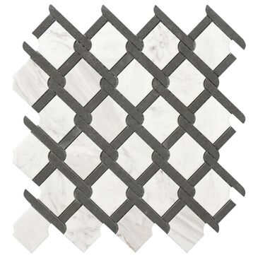 "Premier Rockart Black and White 12"" x 12"" Medallion Glass and Stone Mosaic Sheet, , large"