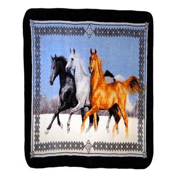 Shavel Home Products Hi Pile Luxury Running Horses Oversized Throw, , large