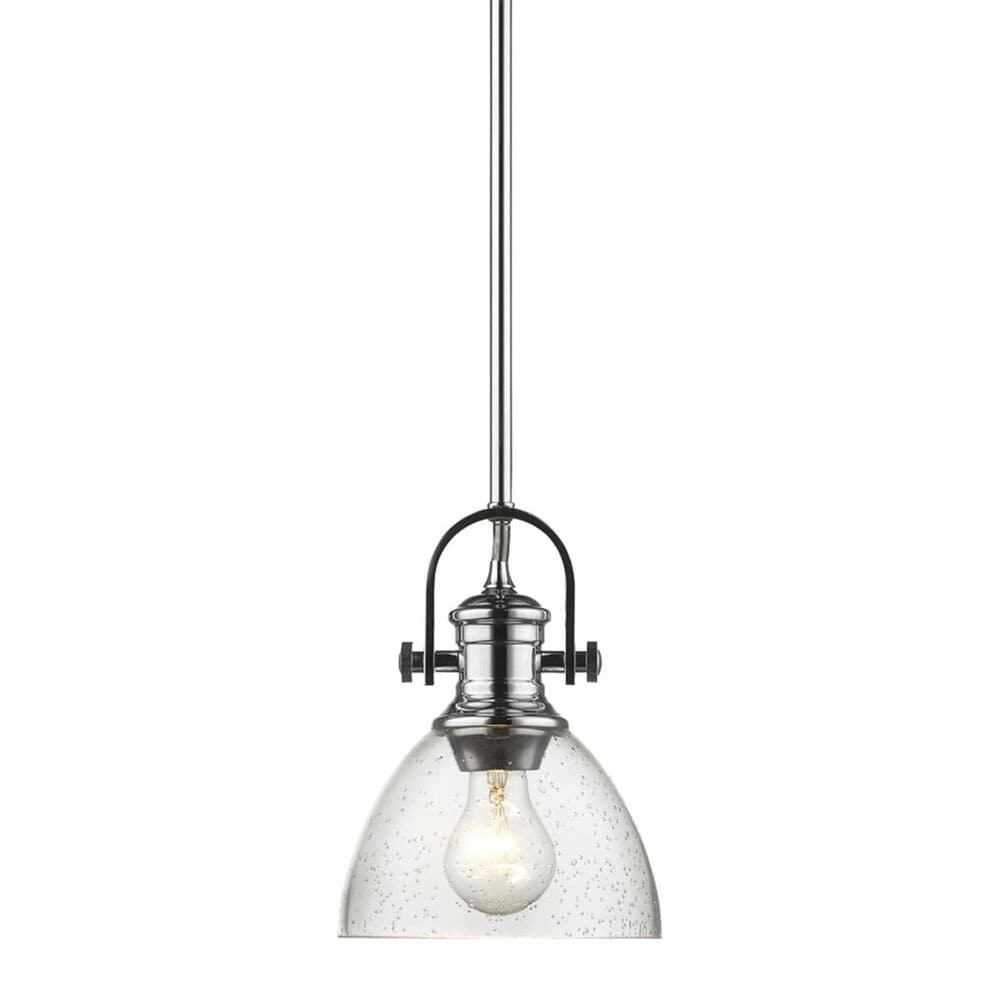 Golden Lighting Hines Mini Pendant in Chrome with Seeded Glass, , large