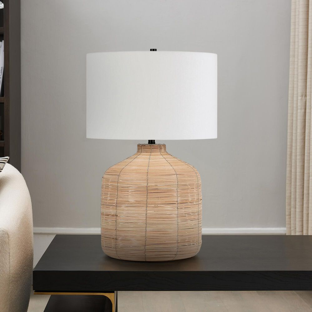 Hudson and Canal Jolina Table Lamp in Natural Rattan and Brass, , large