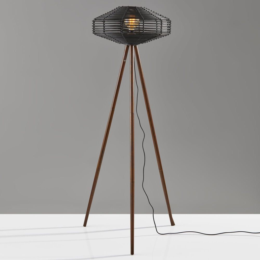 Adesso Kingston Floor Lamp in Walnut and Black, , large