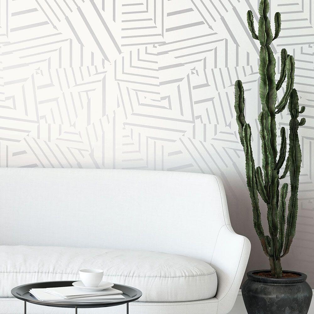 Tempaper Bobby Berk Dazzle White & Metallic Silver Peel and Stick Wallpaper, , large