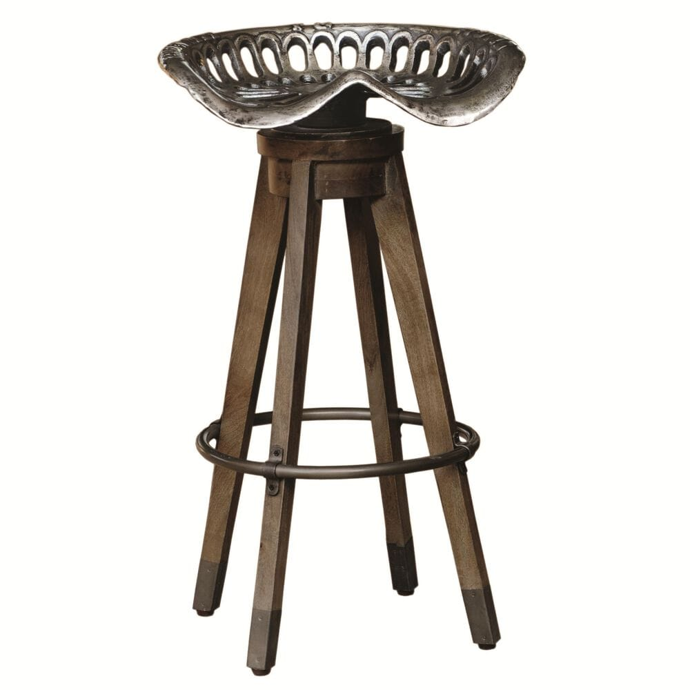 Accentric Approach Accentric Accents Benton Swivel Bar Stool in Wood and Metal, , large
