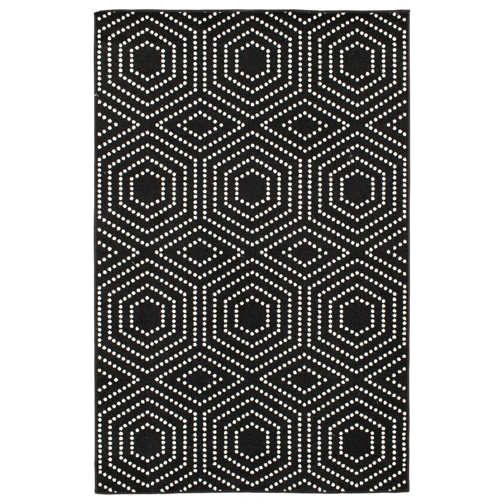 """Central Oriental Terrace Tropic Valeria 2349OSEC.084 5' x 7'3"""" Onyx and Snow Area Rug, , large"""