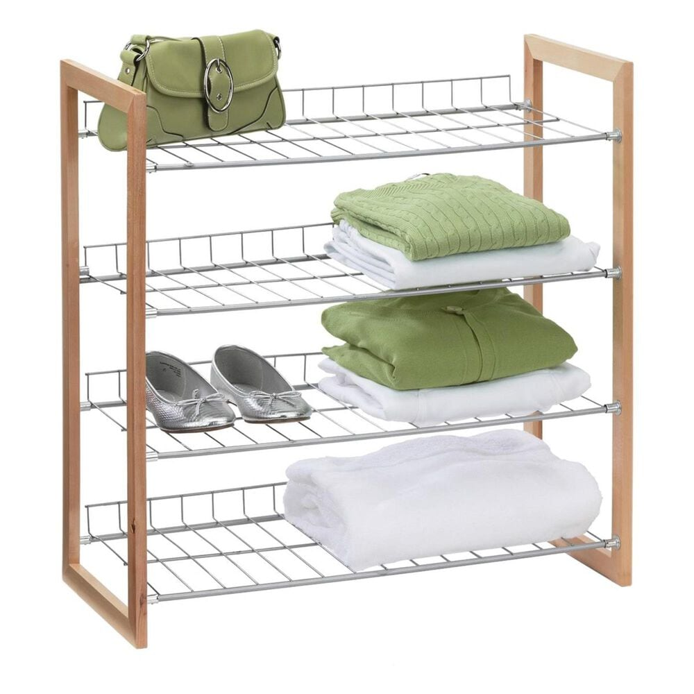 Honey Can Do 4-Tier Wood and Metal Storage Shelf in Natural and Silver, , large