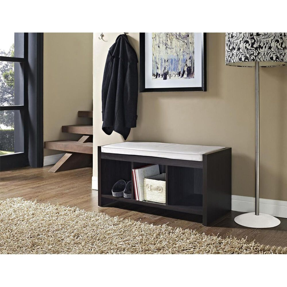 DHP Penelope Storage Bench with Beige Cushion in Espresso, , large