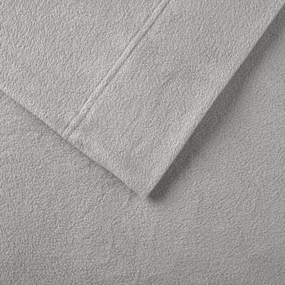 Hampton Park Micro Fleece 4-Piece Queen Sheet Set in Grey, , large