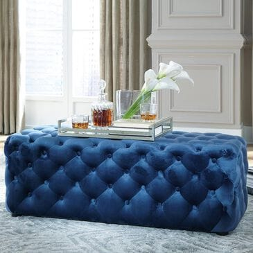 Signature Design by Ashley Lister Large Accent Ottoman in Navy, , large