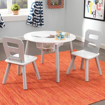 Kidkraft 3 Piece Round Storage Table Set in Gray/White, , large