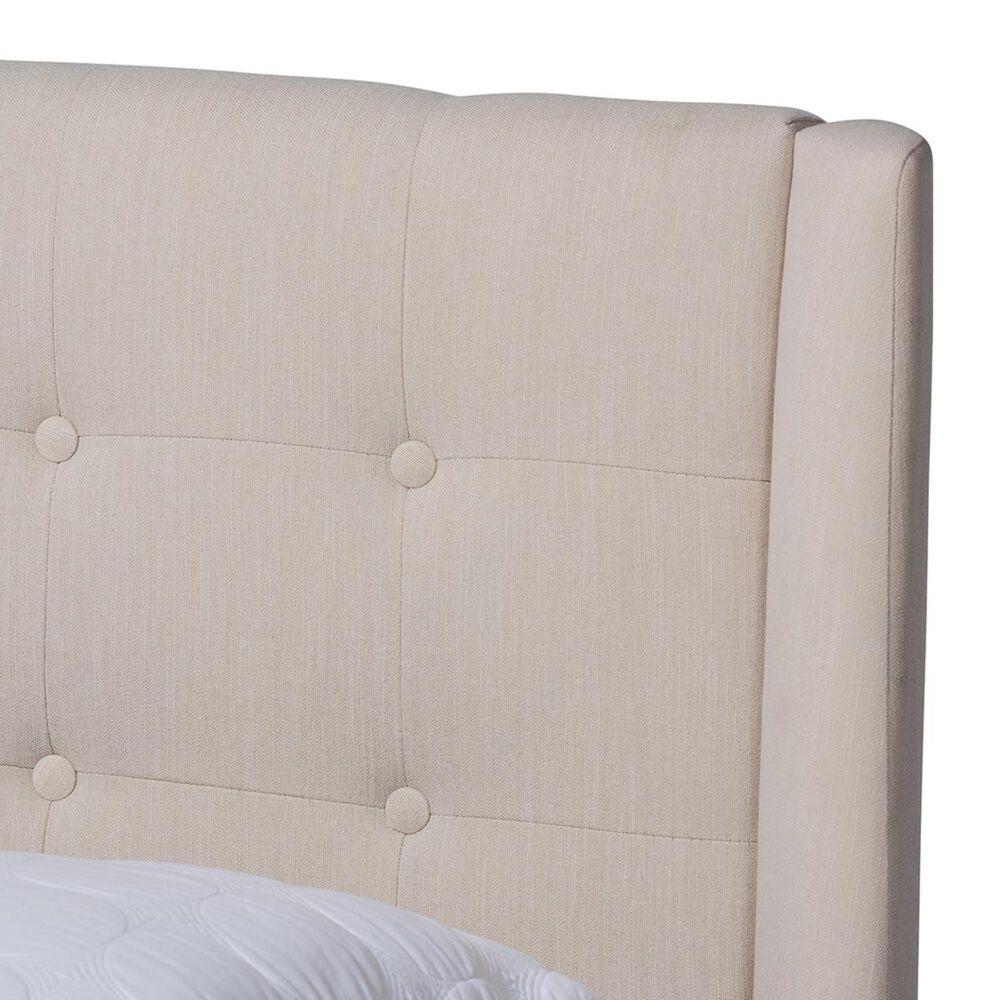 Baxton Studio Naya King Upholstered Wingback Platform Bed in Beige, , large