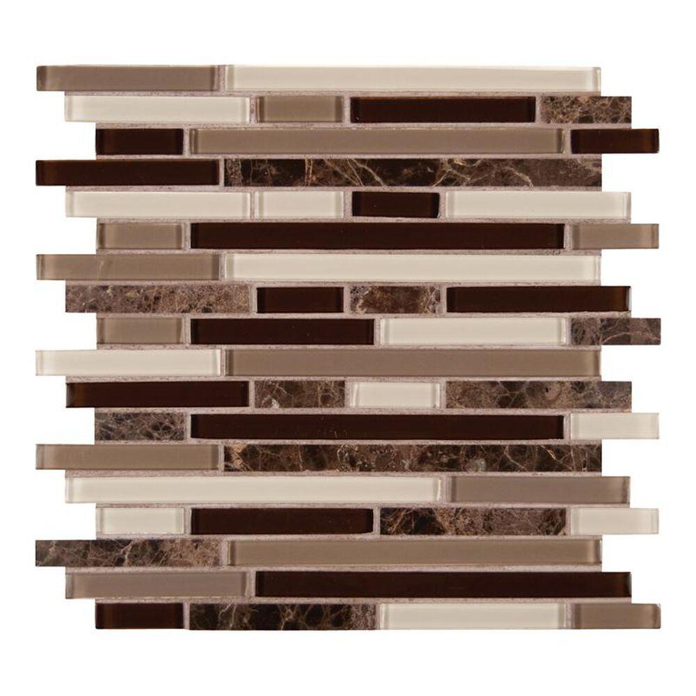"""MS International Royal Oaks 12"""" x 12"""" Glass and Stone Mix Mosaic Sheet, , large"""