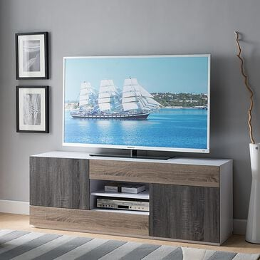 """Global Movement 60"""" TV Stand in White, Dark Taupe, and Distressed Grey, , large"""