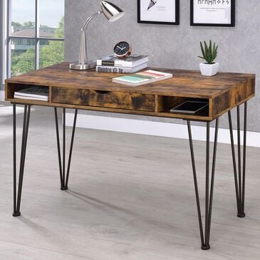 Pacific Landing 1-Drawer Writing Desk in Antique Nutmeg and Dark Bronze, , large