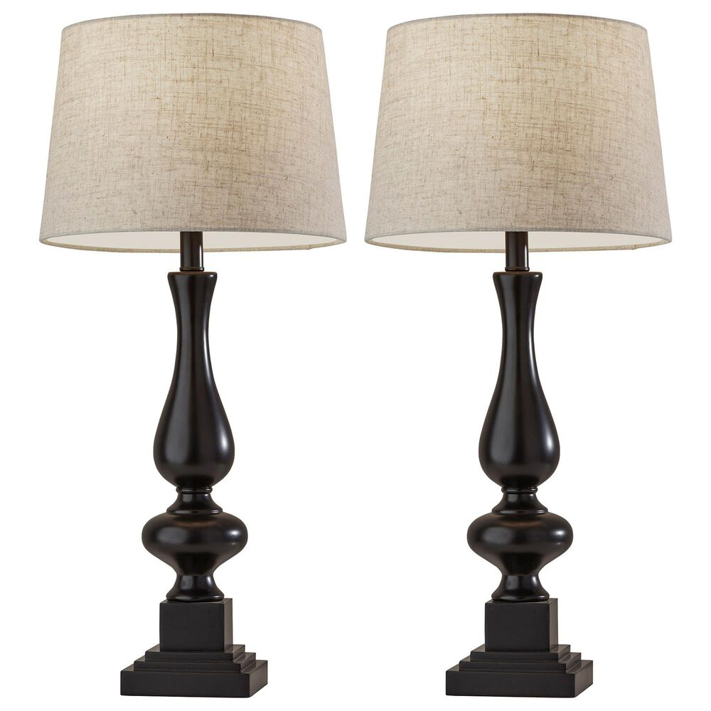 Adesso Gary 2-Piece Table Lamp Set in Black, , large