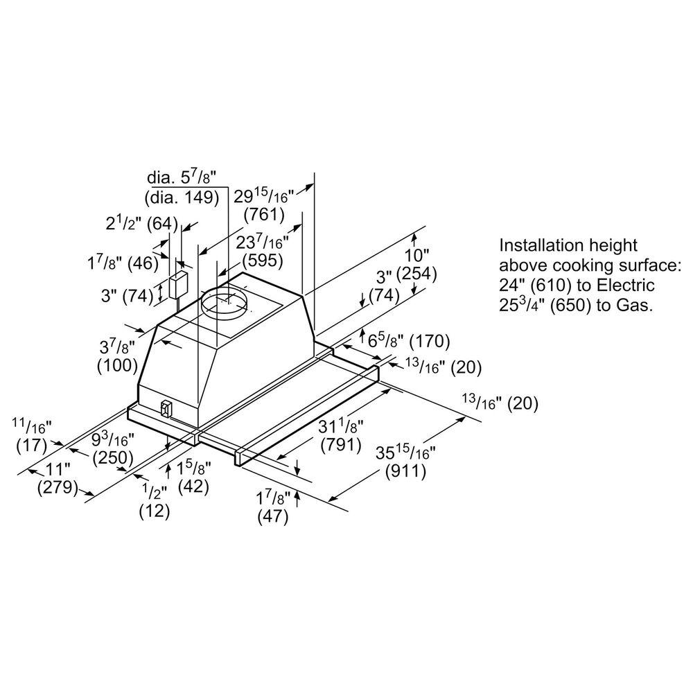 "Bosch 36"" Under Cabinet Range Hood in Stainless Steel, , large"