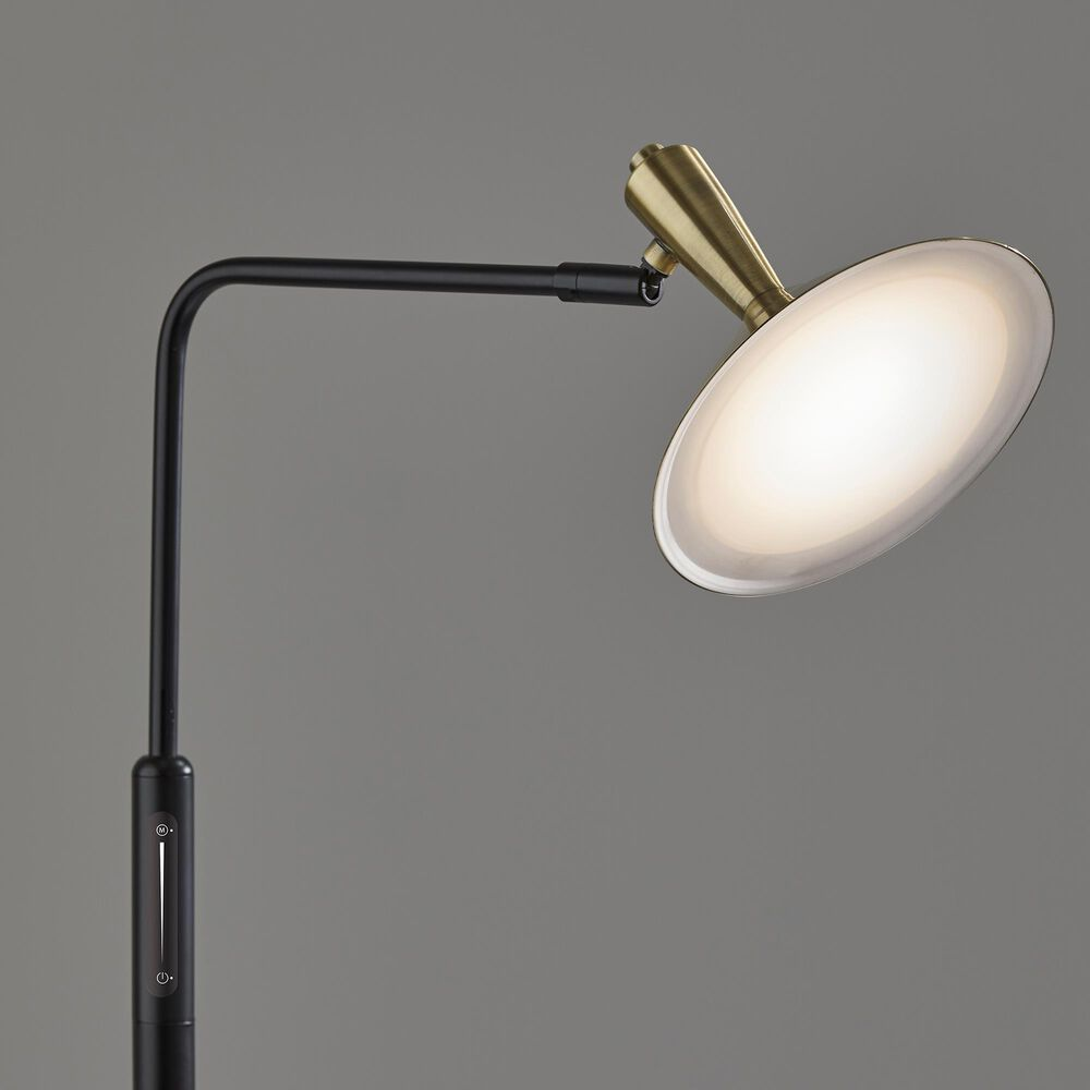 Adesso Lucas LED Floor Lamp in Black and Antique Brass, , large