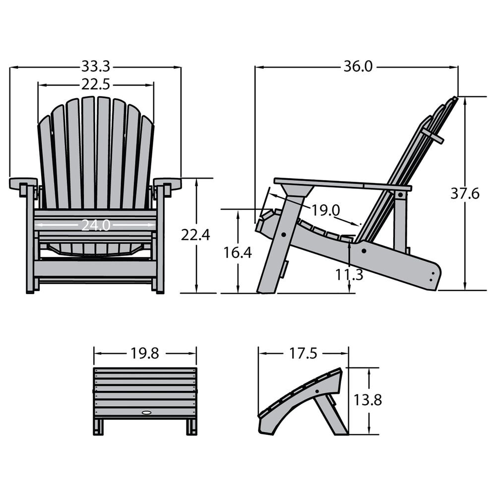 Highwood USA Hamilton Adirondack Chair & Ottoman in Whitewash, , large