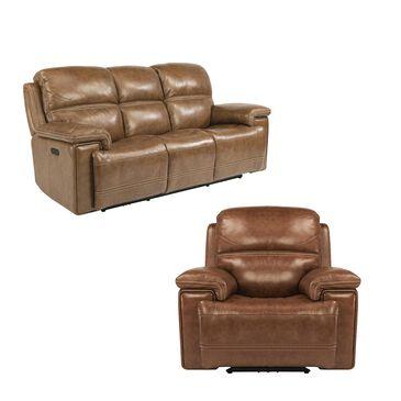 Flexsteel Fenwick Power Sofa and Recliner with Headrest in Light Brown, , large