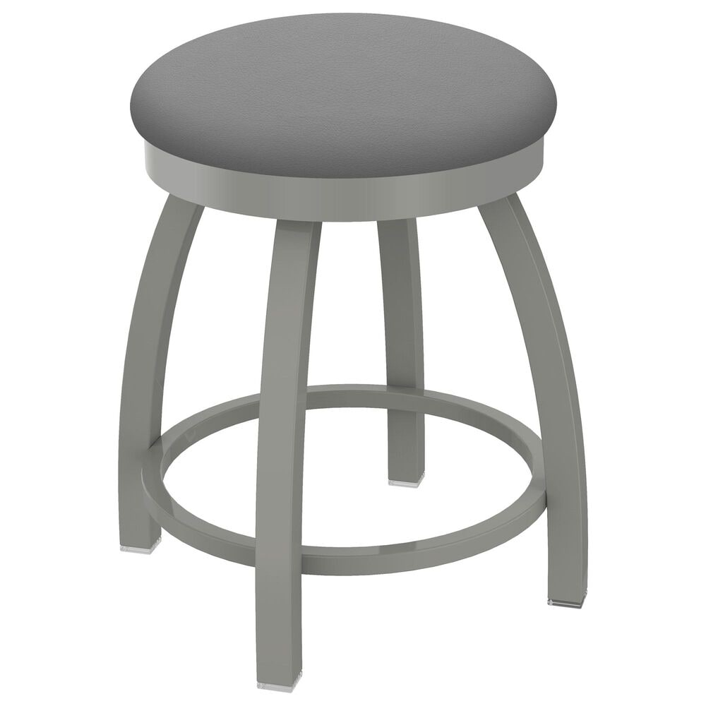 """Holland Bar Stool Misha 18"""" Swivel Vanity Stool with Anodized Nickel and Canter Folkstone Grey Seat, , large"""
