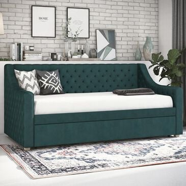 CosmoLiving by Cosmopolitan Nolita Twin Upholstered Daybed and Trundle in Green Velvet, , large