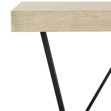 Safavieh Amos Retro Mid Century Wood Coffee Table  in Light Oak and Black, , large