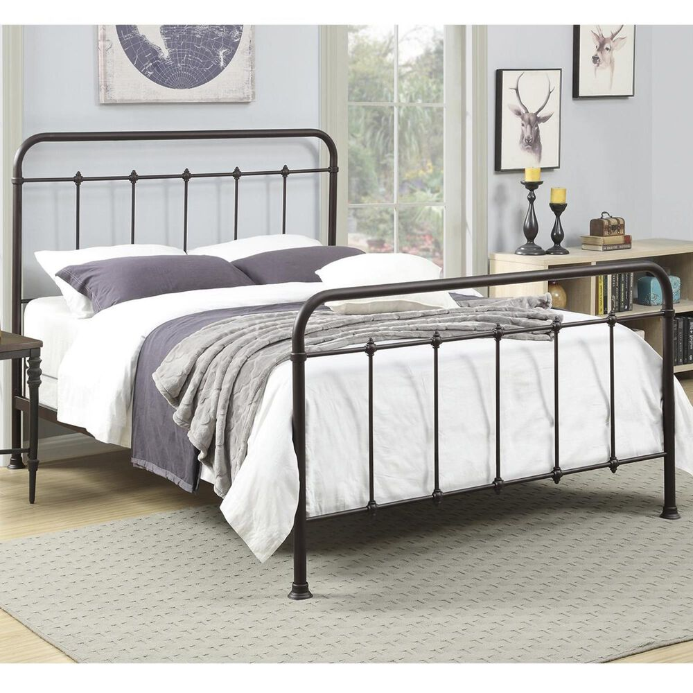 Accentric Approach Accentric Accents Benton Queen All-In-One Metal Bed in Brown, , large