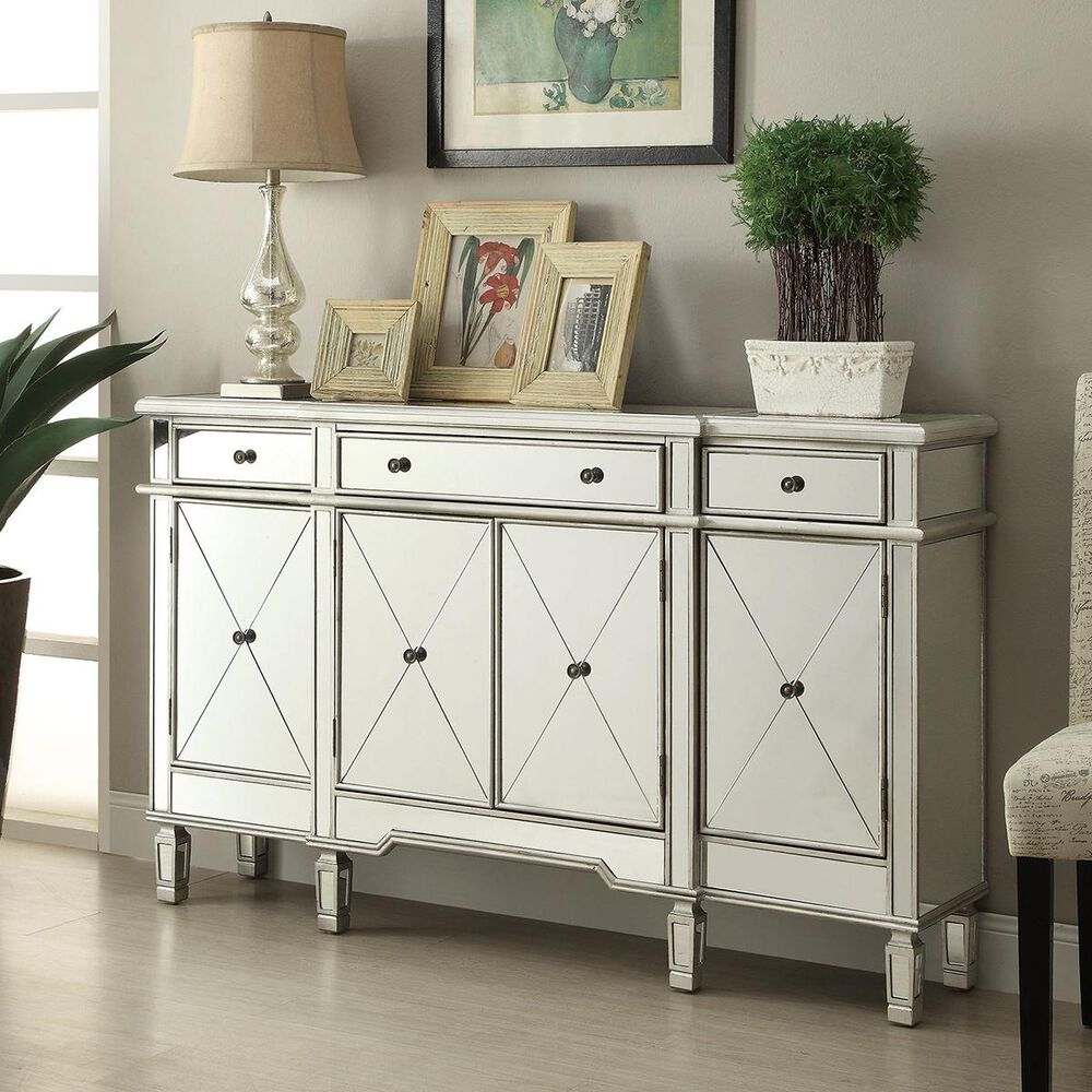 Pacific Landing Wine Cabinet with Mirror Door in Silver, , large