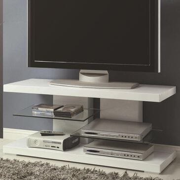 Pacific Landing TV Stand with Alternating Glass Shelves in White, , large