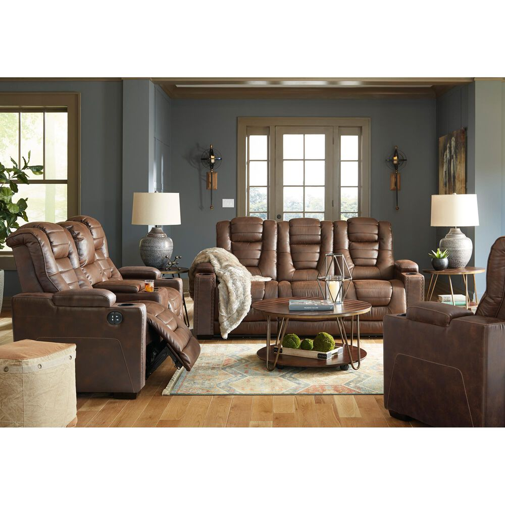 Signature Design by Ashley Owner's Box Power Reclining Loveseat with Console in Thyme, , large
