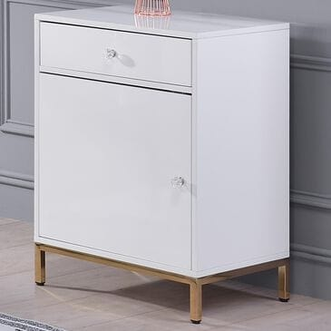 Gunnison Co. Ottey Cabinet in White High Gloss and Gold, , large