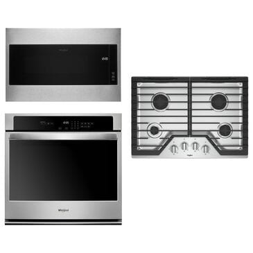 Whirlpool 3-Piece Kitchen Package with 5.0 Cu. Ft. Single Wall Oven and Built-In Microwave in Stainless Steel, , large