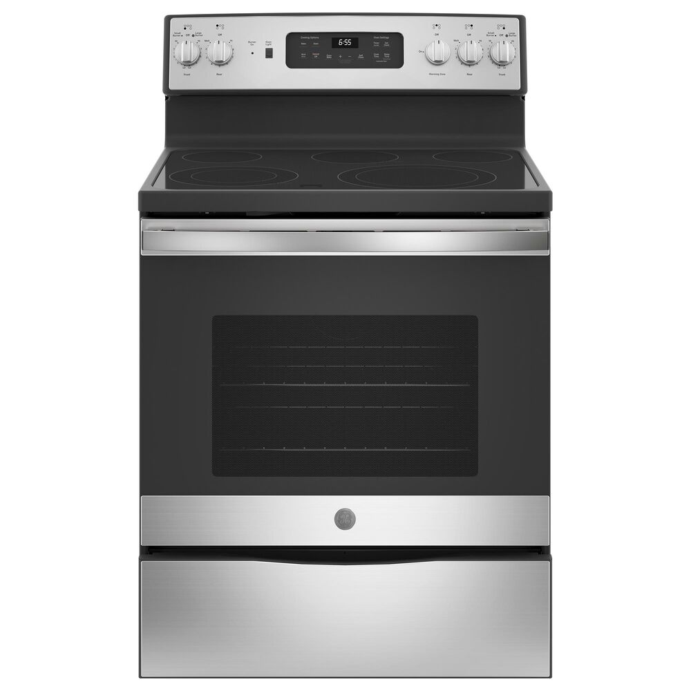 GE Appliances 4-Piece Kitchen Package with 21.8 Cu. Ft. Side By Side Refrigerator and Electric Range in Stainless Steel, , large
