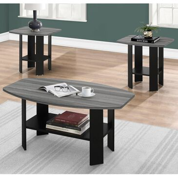 Monarch Specialties 3-Piece Occasional Table Set in Black and Grey, , large