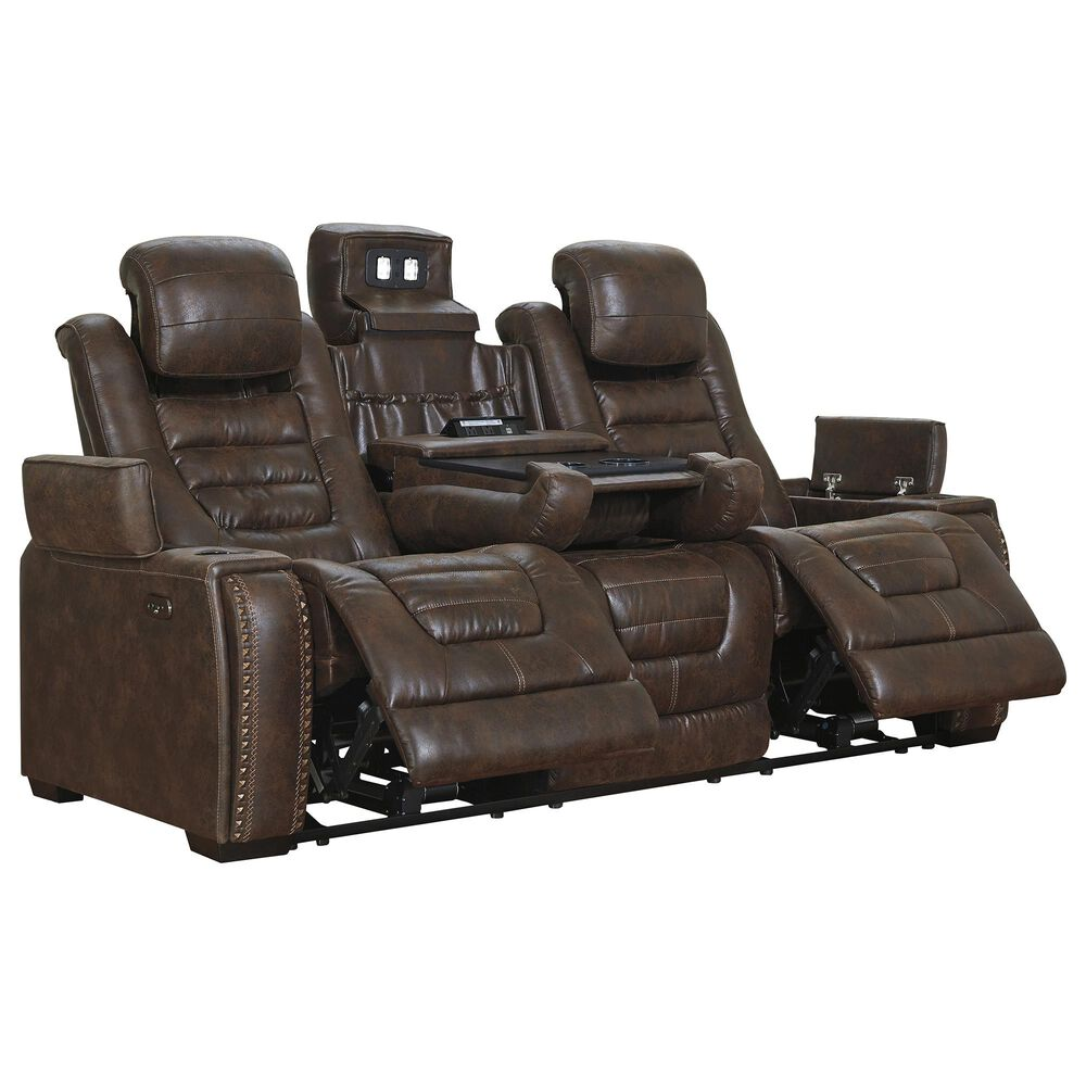 Signature Design by Ashley Game Zone Power Reclining Sofa with Power Headrest in Bark, , large